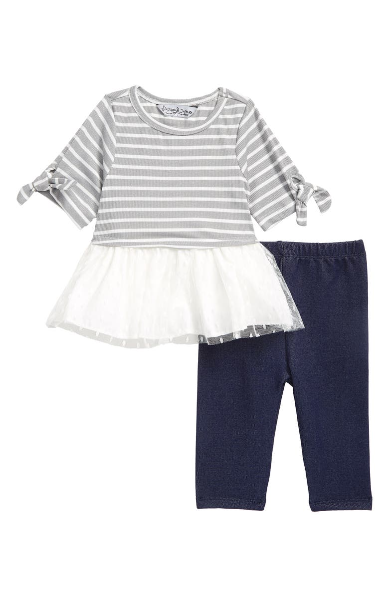 PIPPA & JULIE Mixed Media Stripe Top & Leggings Set, Main, color, GREY/ IVORY