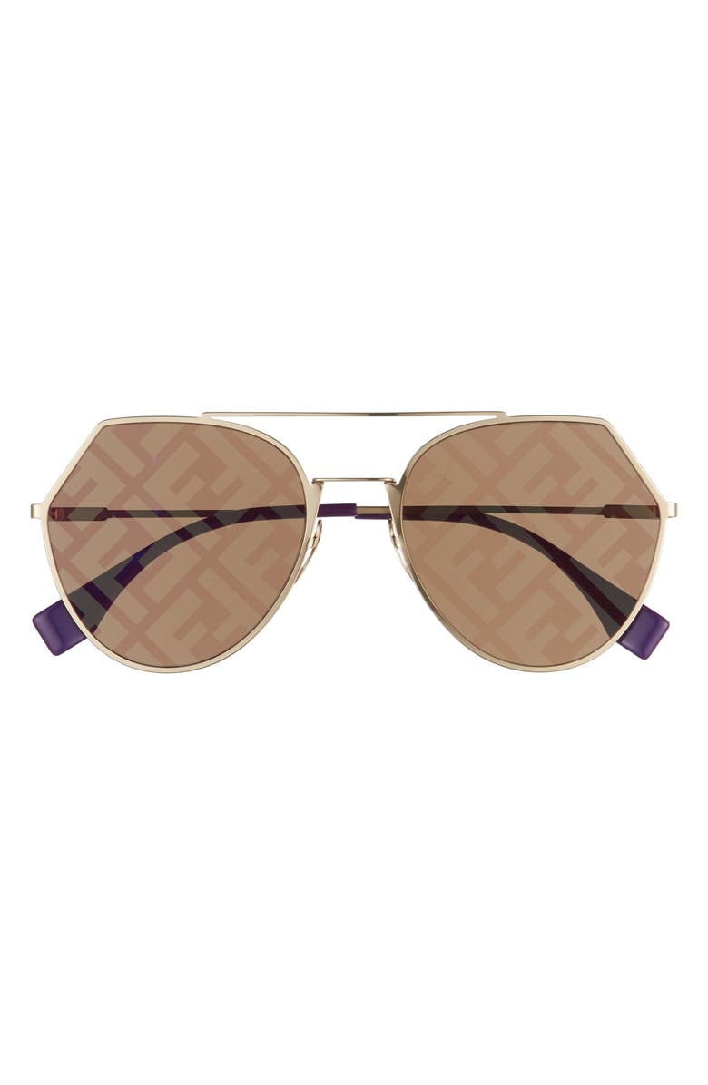 FENDI Eyeline 55mm Sunglasses, Main, color, GOLD/ DECOR GOLD