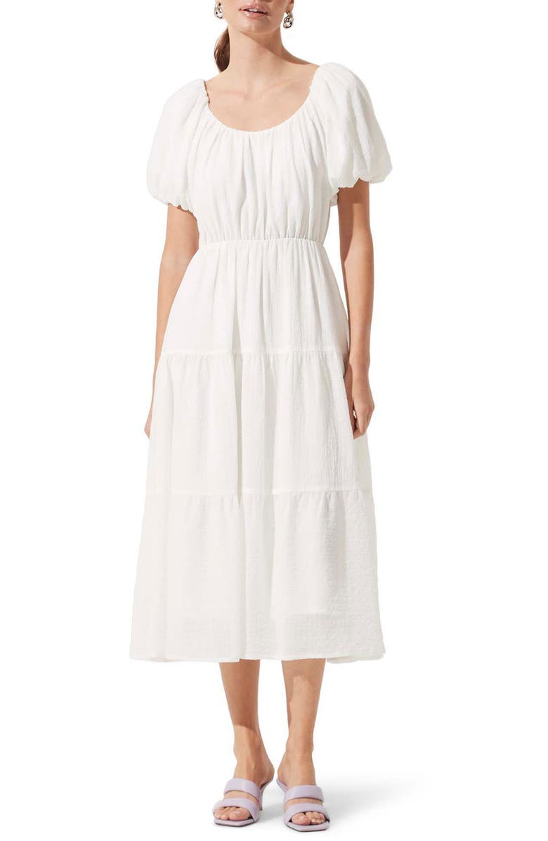 ASTR THE LABEL Tiered Short Sleeve Dress, Main, color, WHITE