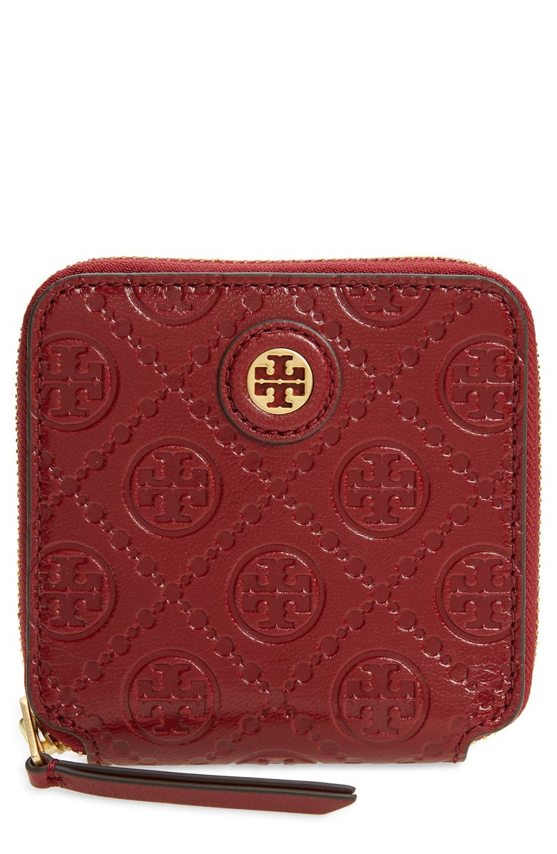 TORY BURCH T Monogram Leather Wallet, Main, color, JUNEBERRY