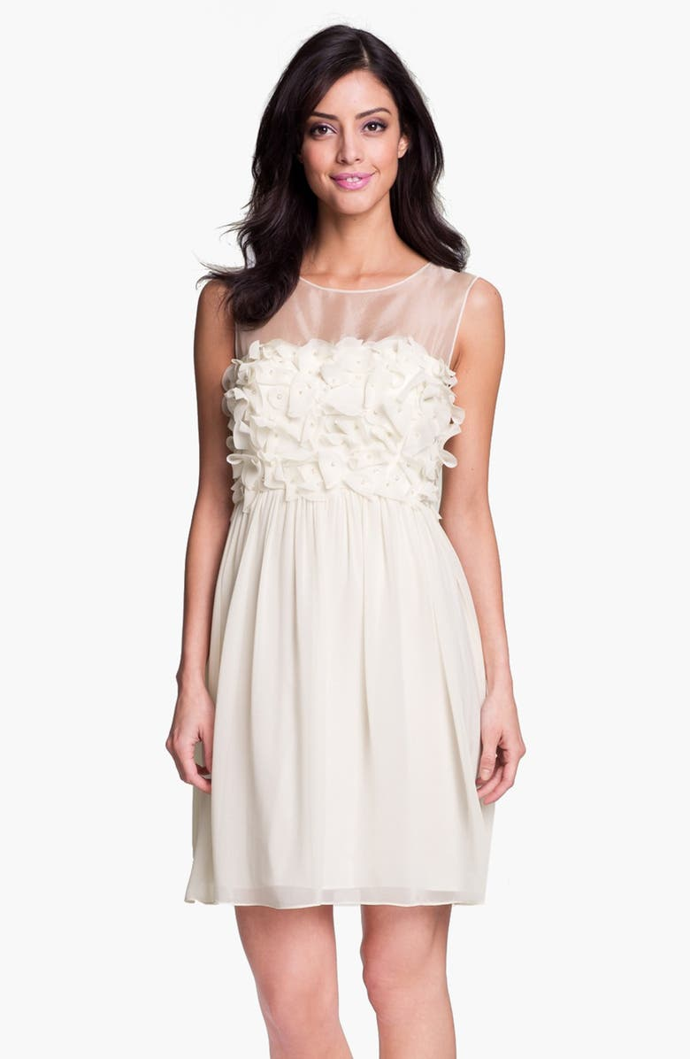 DONNA MORGAN Embellished Ruffle Chiffon Dress, Main, color, 900