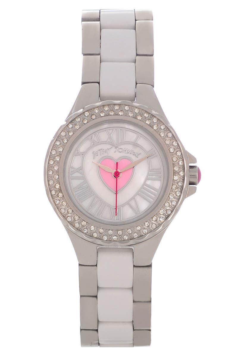 BETSEY JOHNSON Heart Detail Two Tone Watch, 27mm, Main, color, Silver