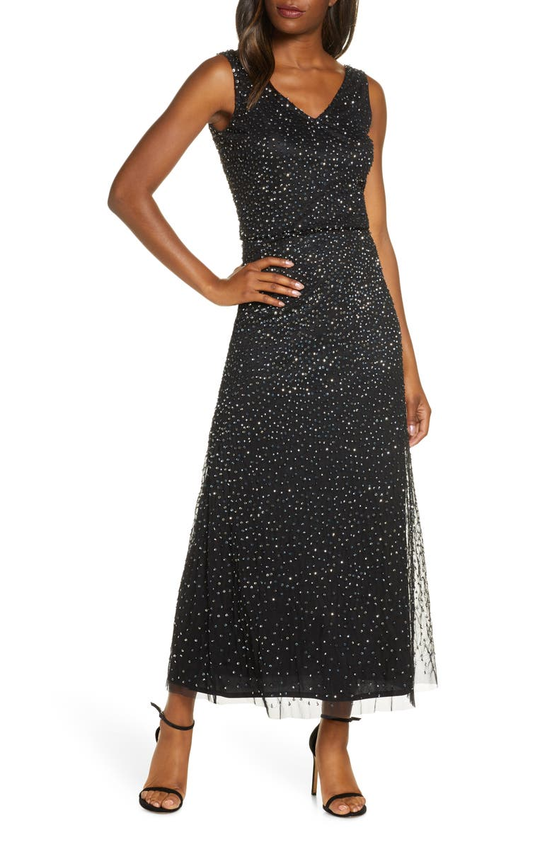PISARRO NIGHTS Beaded Double V-Neck Gown, Main, color, 001