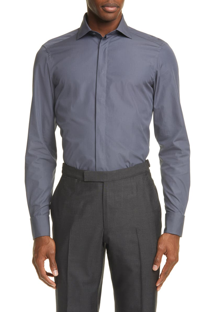 ERMENEGILDO ZEGNA Classic Fit Button-Up Shirt, Main, color, 022