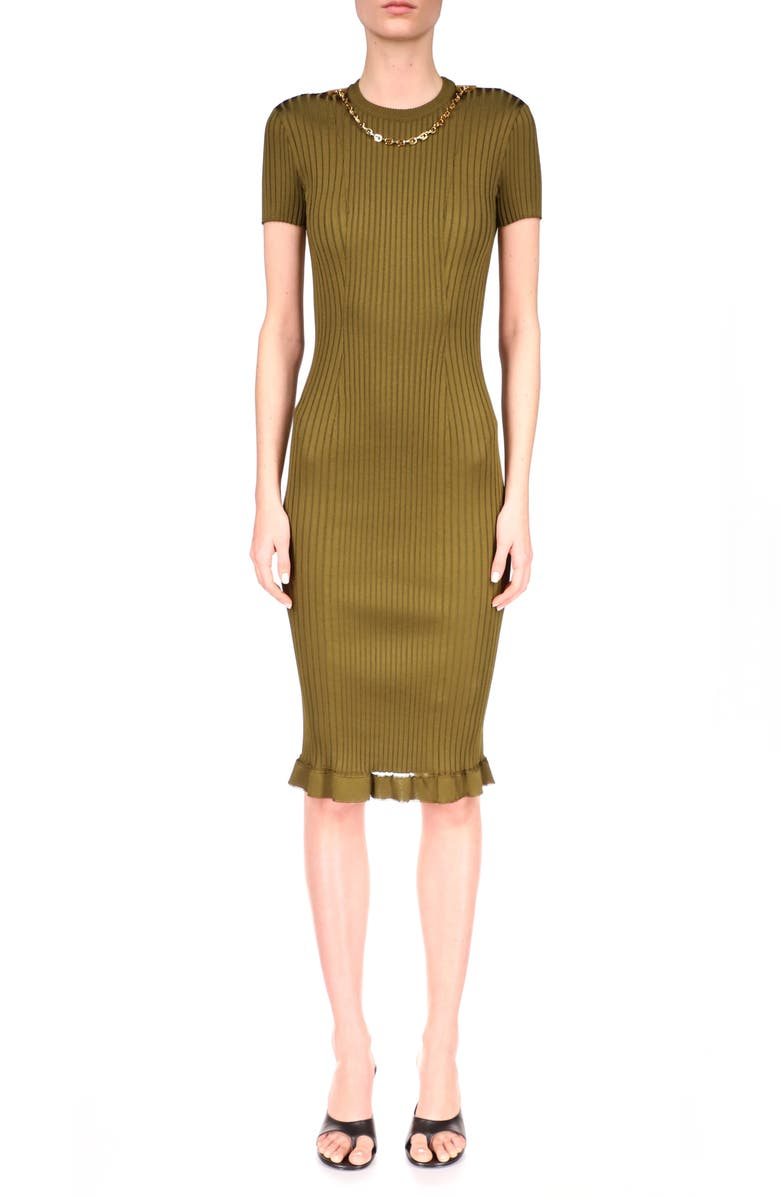 GIVENCHY Chain Detail Rib Knit Body-Con Dress, Main, color, BOTTLE GREEN
