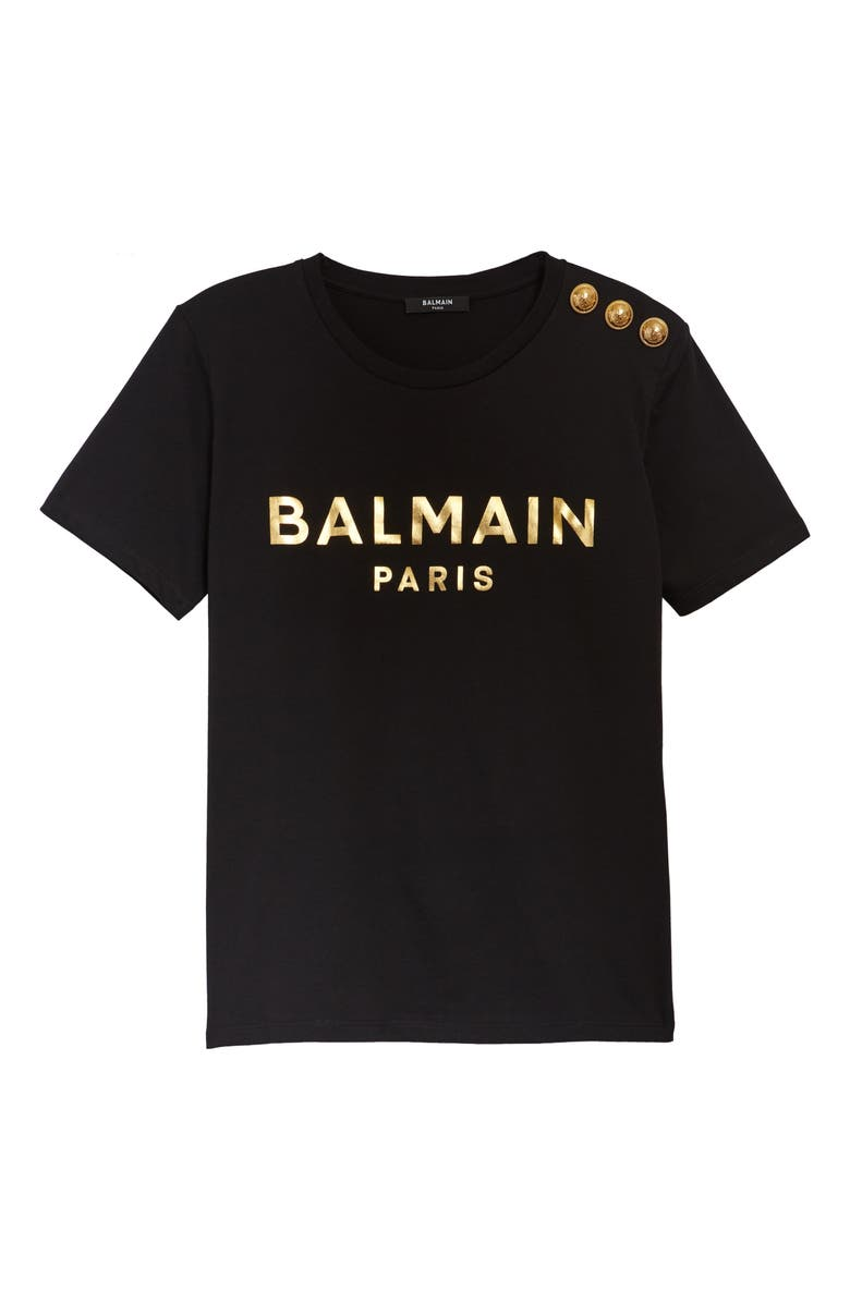 BALMAIN Button Shoulder Logo Tee, Main, color, NOIR