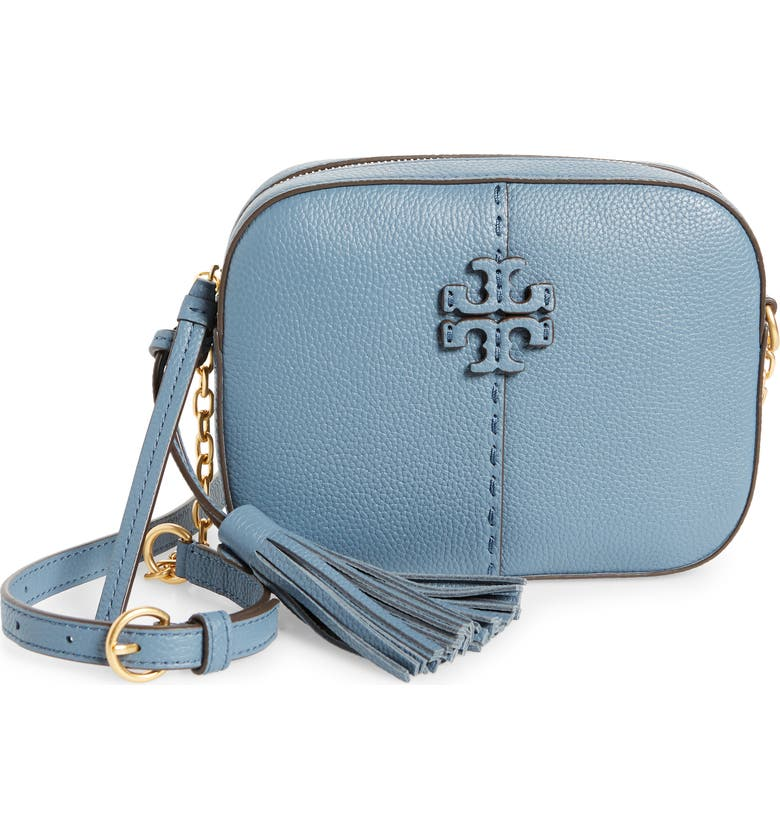 TORY BURCH McGraw Leather Camera Bag, Main, color, BRUNNERA