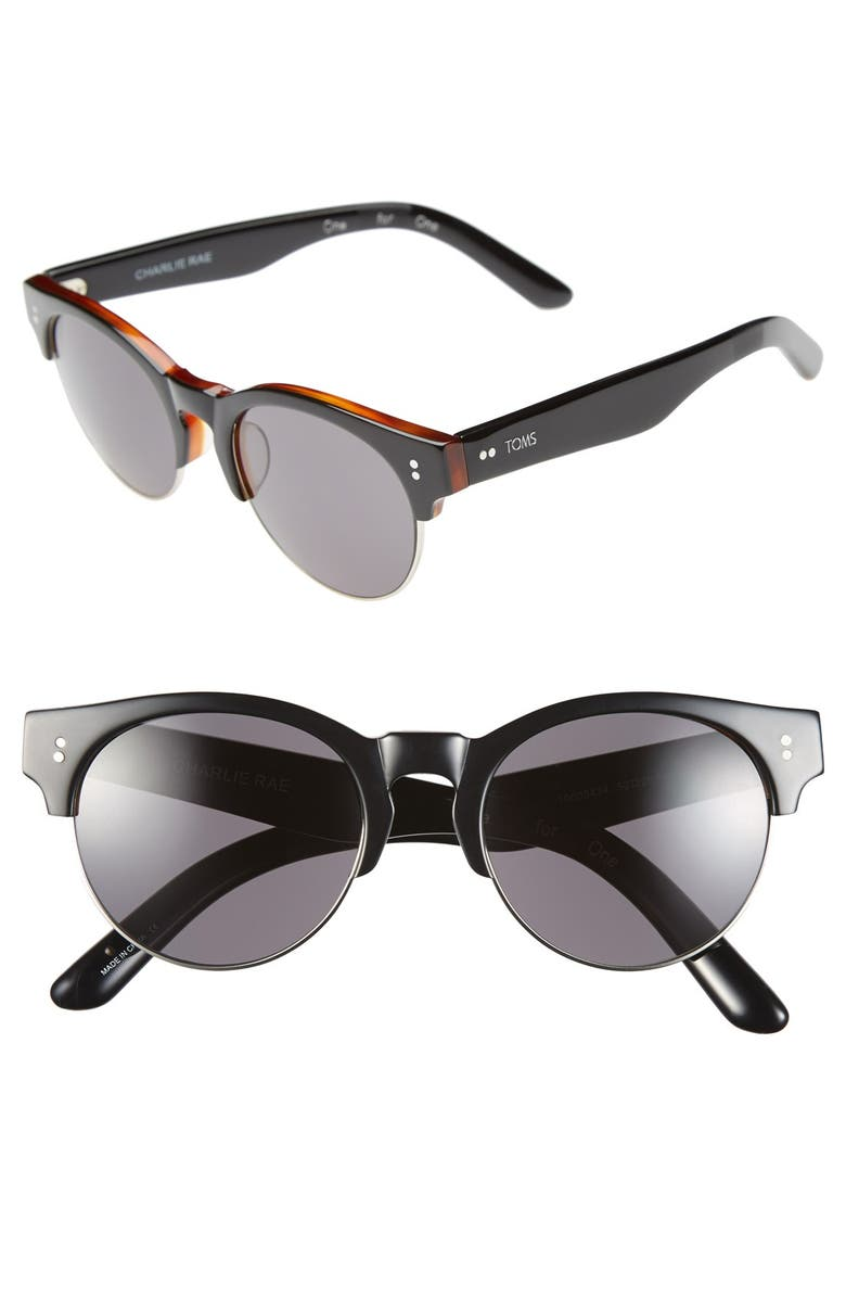 TOMS 'Charlie Rae' 52mm Sunglasses, Main, color, 001