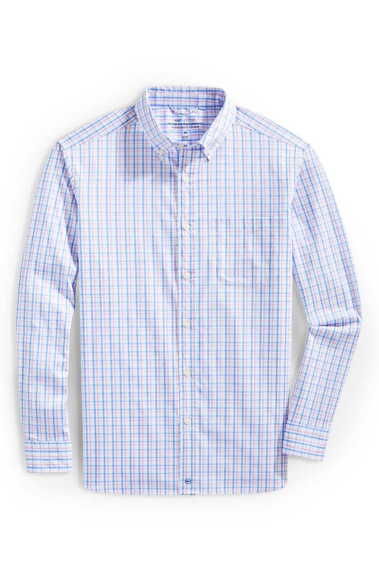 VINEYARD VINES Classic Fit Check Button-Down Performance Shirt, Main, color, DUSTY BLOOM