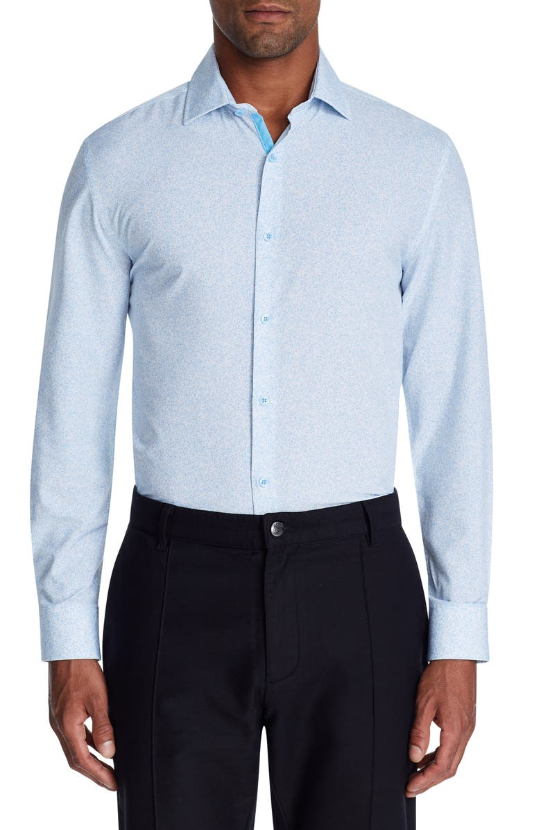 W.R.K Trim Fit Performance Dress Shirt, Main, color, 450