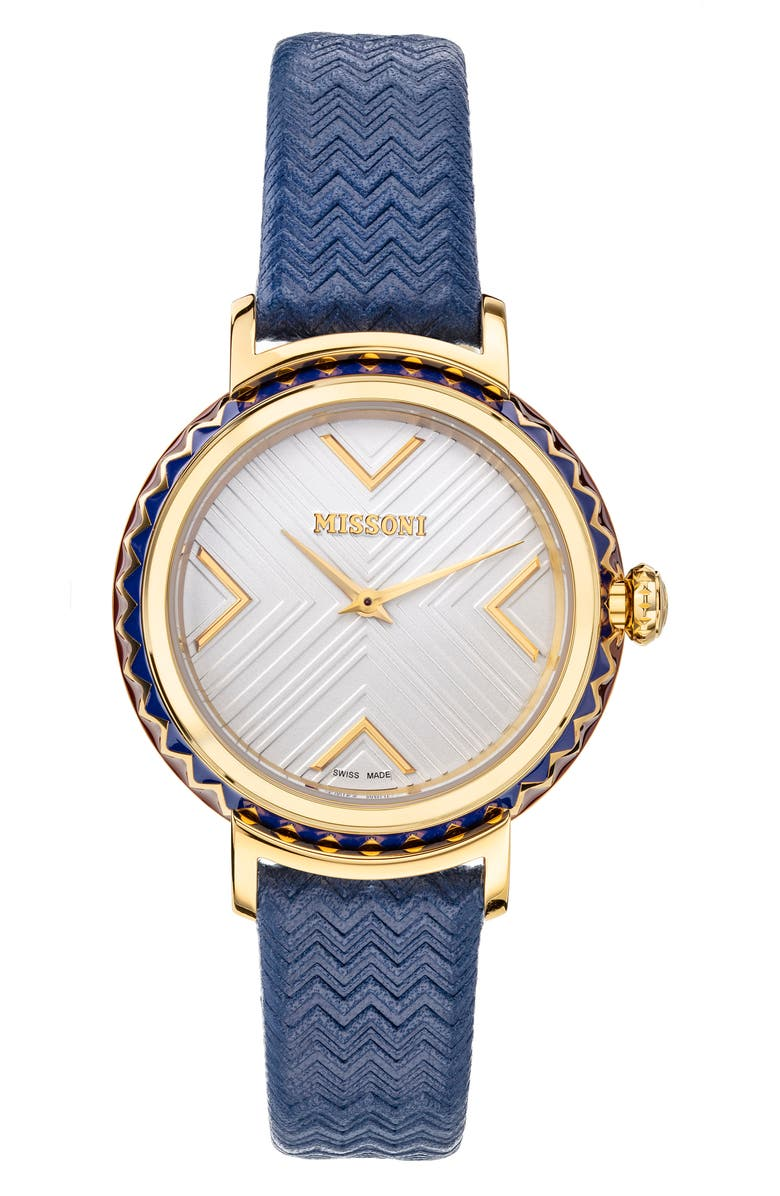 MISSONI Chevron Joy Leather Strap Watch, 37mm, Main, color, STAINLESS STEEL / SILVER