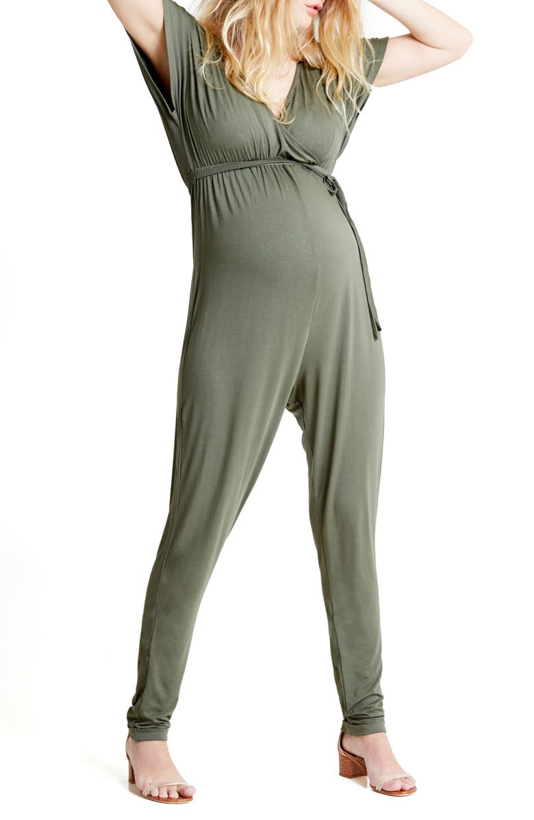 INGRID & ISABEL<SUP>®</SUP> Crossover Maternity Jumpsuit, Main, color, OLIVE