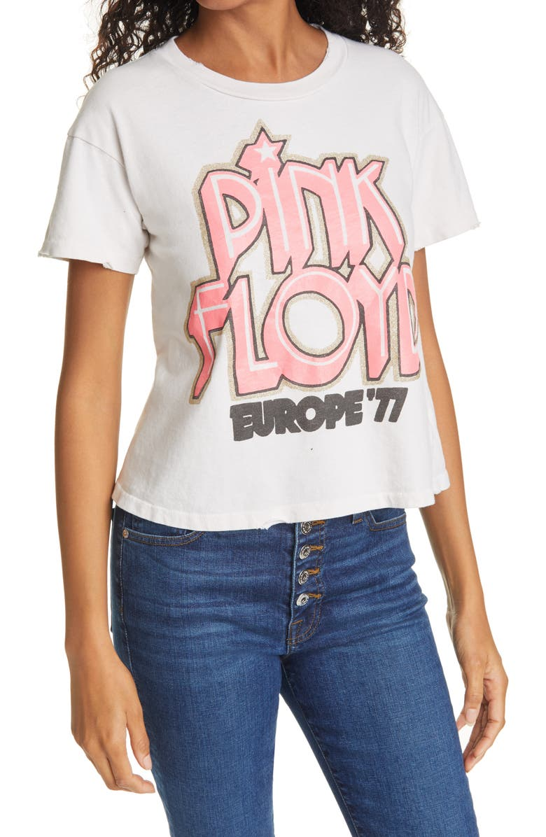 MADEWORN Pink Floyd 1977 Unisex Crop Graphic Tee, Main, color, OFF WHITE