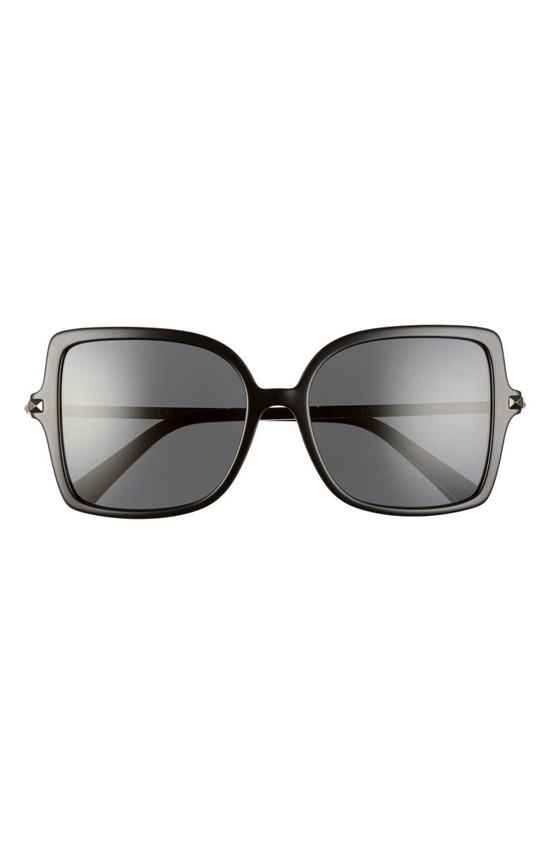 VALENTINO 56mm Rockstud Butterfly Sunglasses, Main, color, BLACK/ BLACK SOLID
