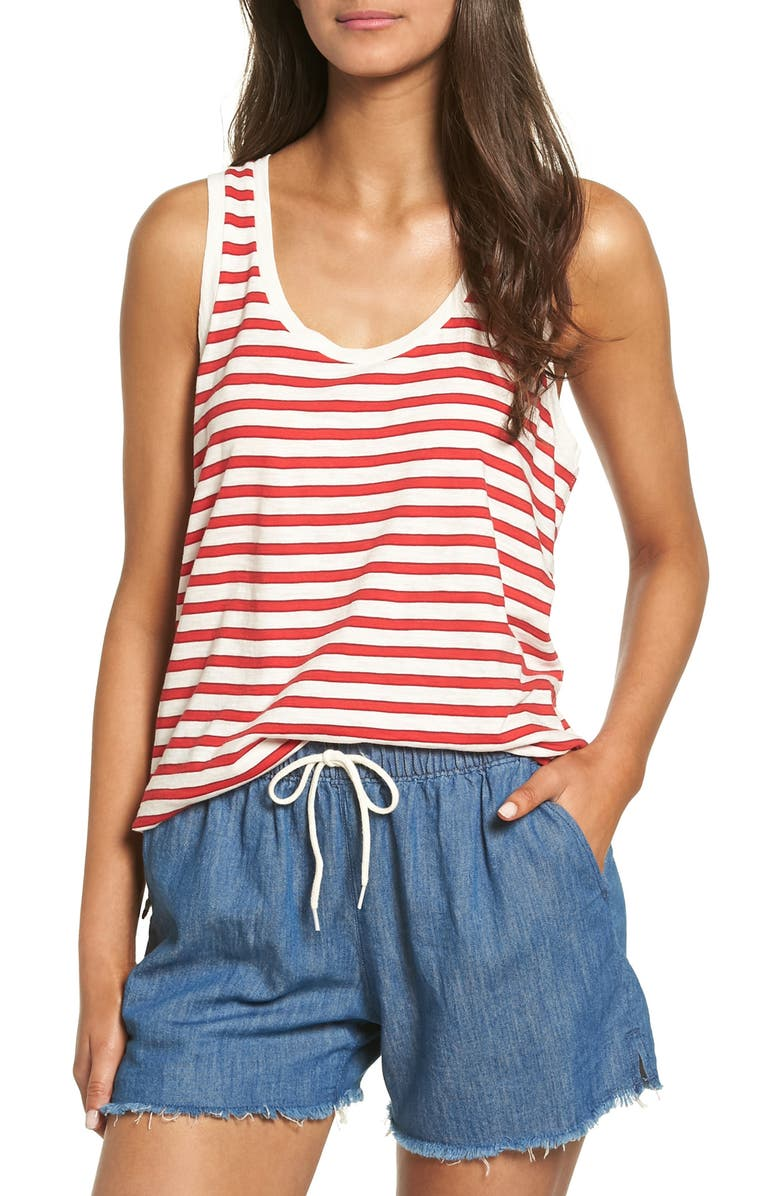 MADEWELL Whisper Cotton Scoop Tank, Main, color, TRUE RED