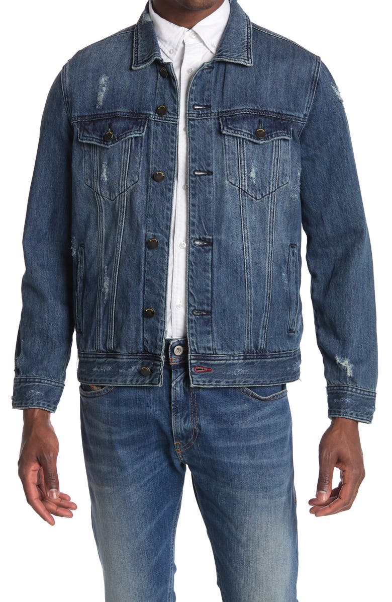 BLANKNYC Distressed Denim Trucker Jacket, Main, color, REVIVED CHANNEL