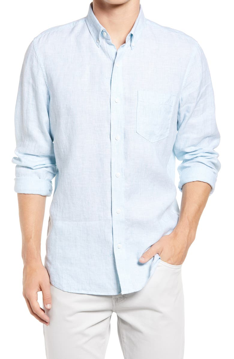 NORDSTROM Trim Fit Button-Down Shirt, Main, color, TEAL DOLPHIN