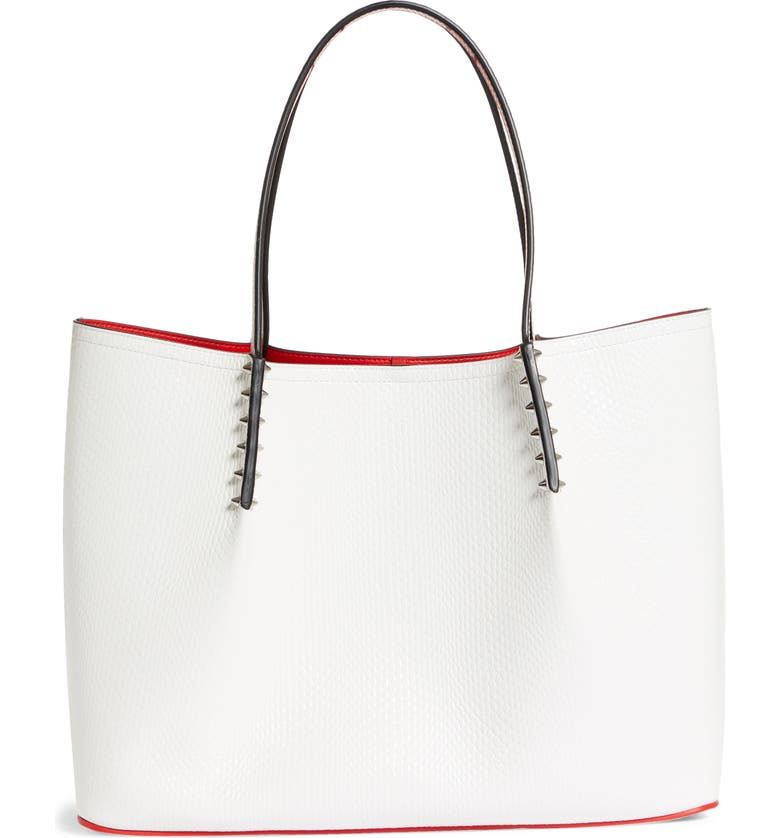 CHRISTIAN LOUBOUTIN Large Cabarock Lizard Embossed Leather Tote, Main, color, BIANCO