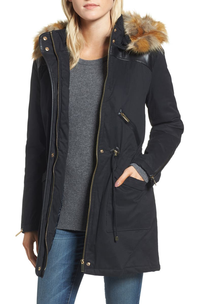 FRENCH CONNECTION Mixed Media Parka with Faux Fur Hood, Main, color, 001