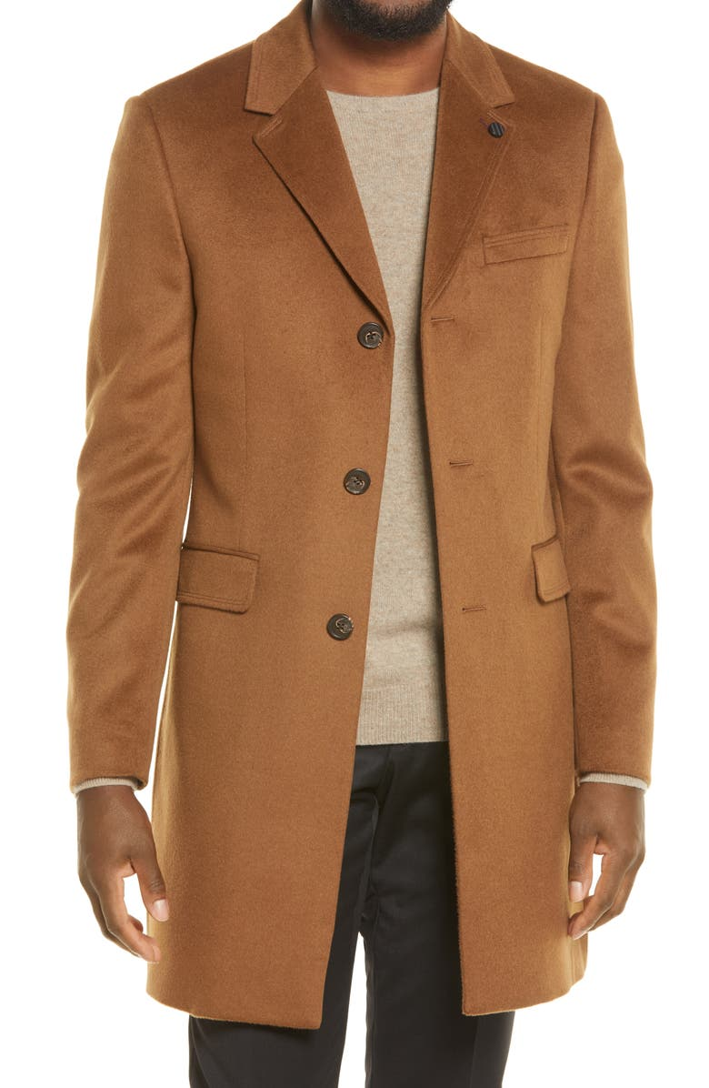 TED BAKER LONDON Fjord Wool & Cashmere Overcoat, Main, color, CAMEL
