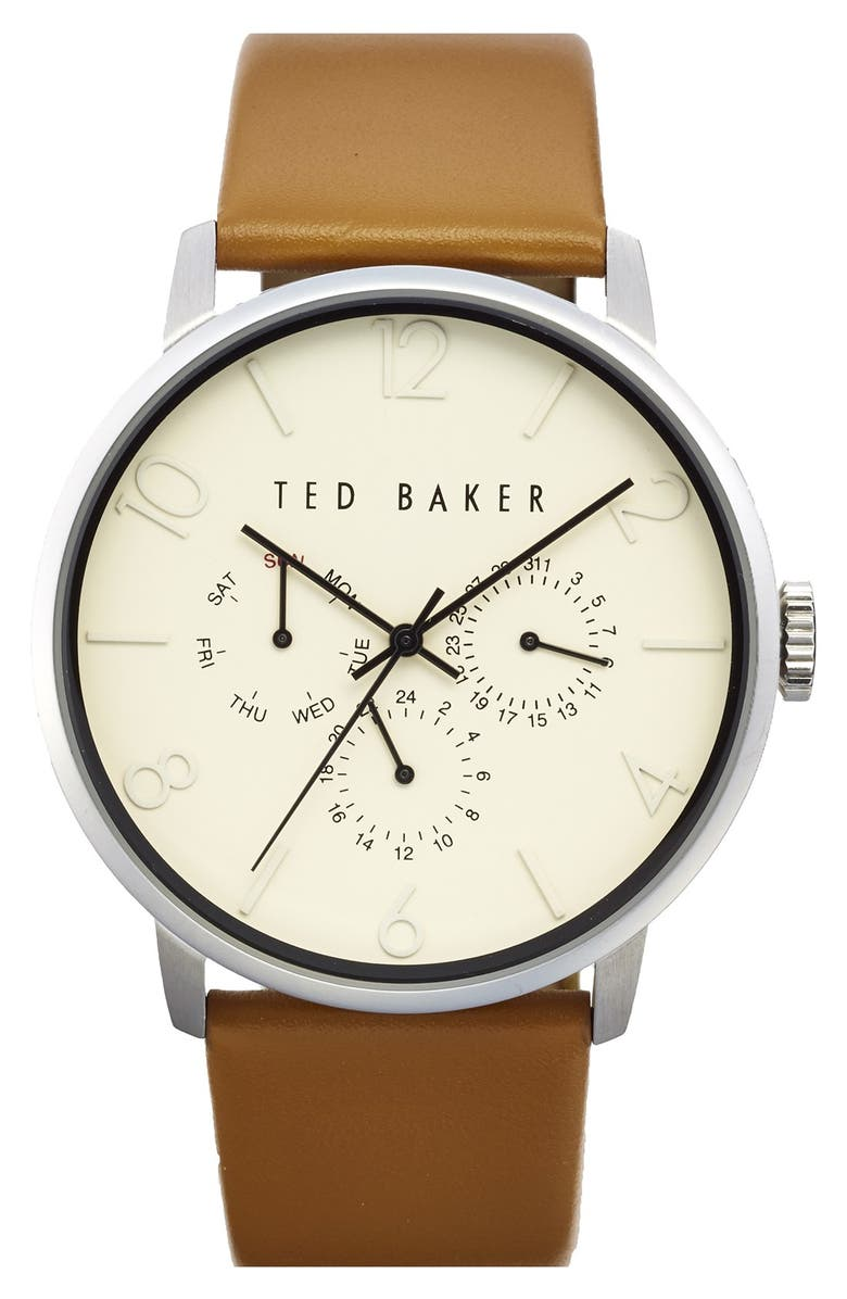 TED BAKER LONDON Multifunction Leather Strap Watch, 42mm, Main, color, 201