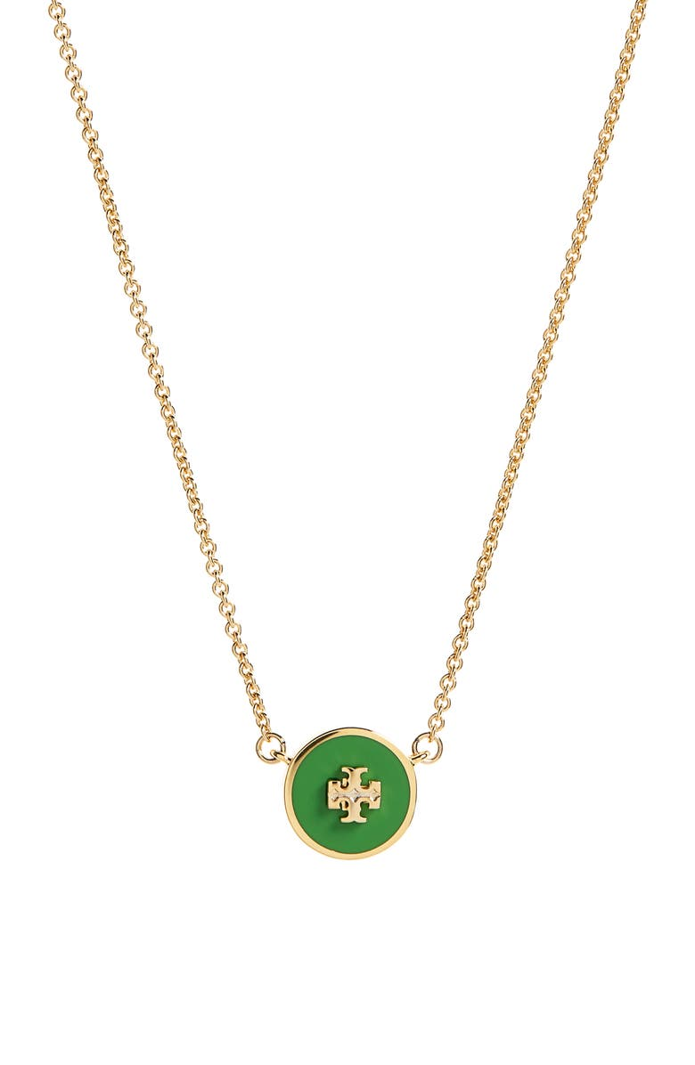 TORY BURCH Enamel Pendant Necklace, Main, color, TORY GOLD/FIELD DAY GREEN