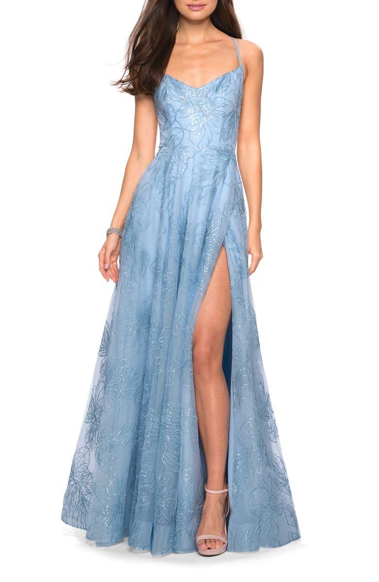 LA FEMME Sequin Floral A-Line Gown, Main, color, CLOUD BLUE