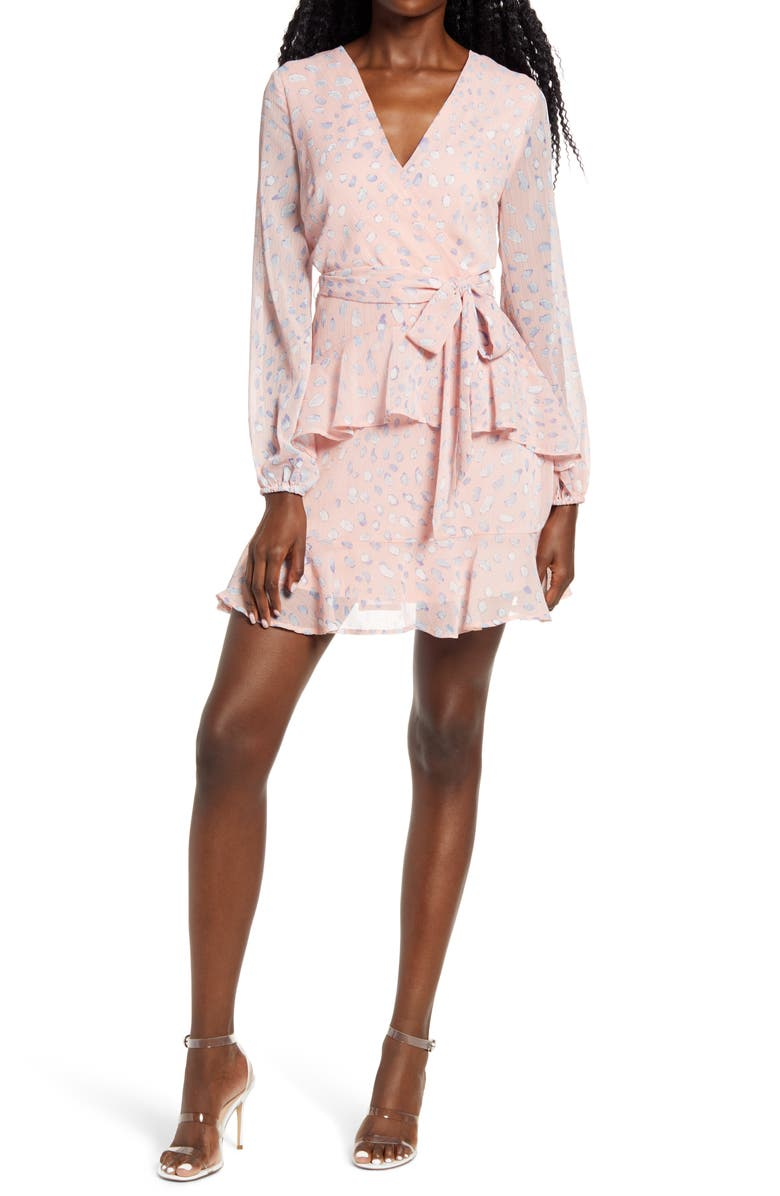 LEITH Long Sleeve Wrap Front Minidress, Main, color, PINK DITSY