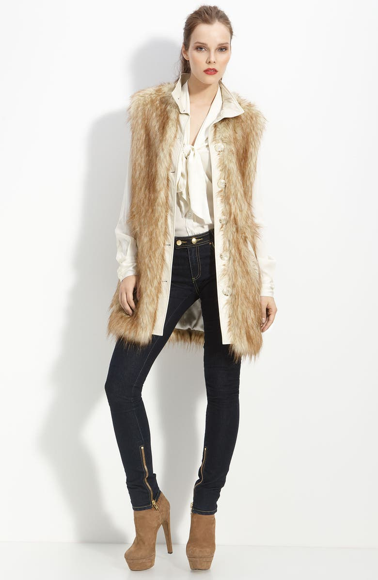 RACHEL ZOE Faux Fur Long Vest, Main, color, 280