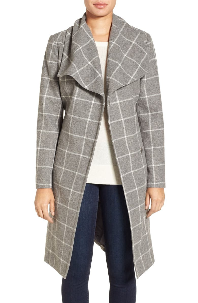 KENNETH COLE NEW YORK Windowpane Wrap Coat, Main, color, 030
