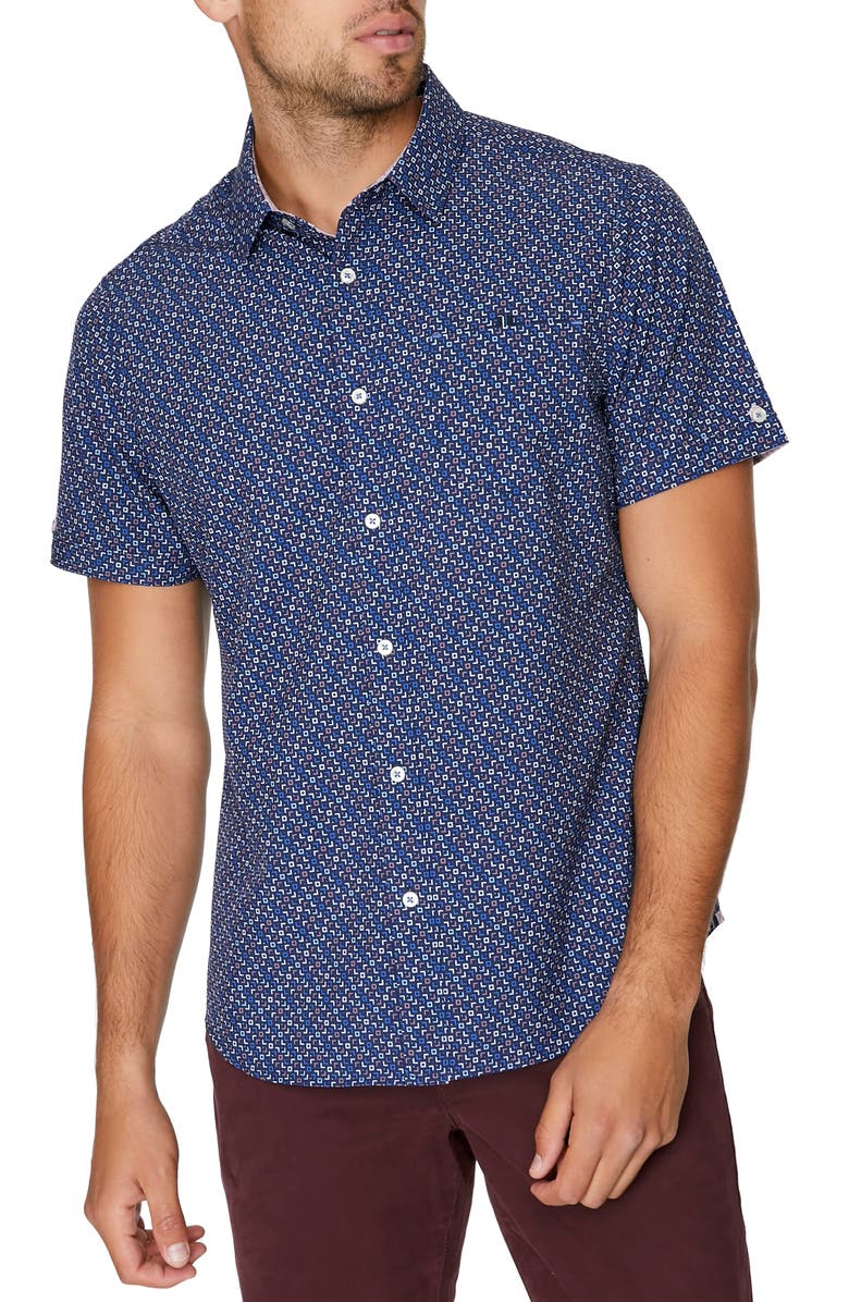 7 DIAMONDS Electric Feel Short Sleeve Stretch Button-Up Shirt, Main, color, NAVY
