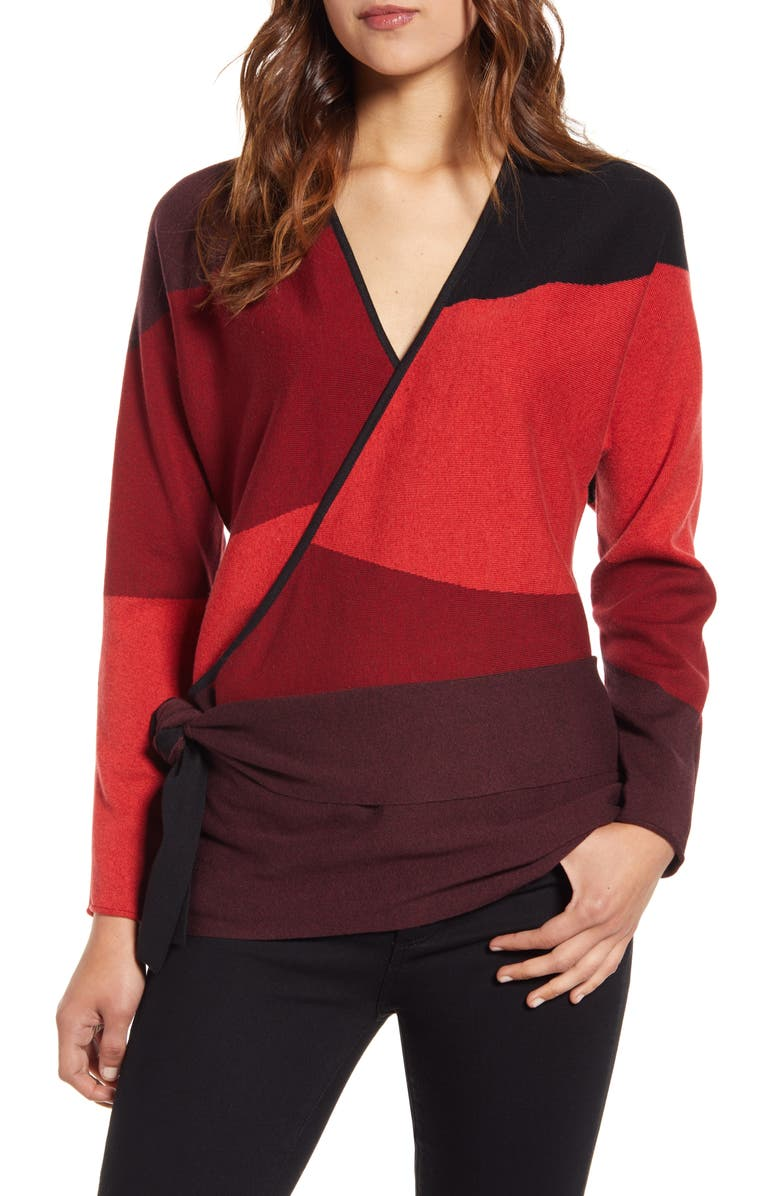 NIC+ZOE New Wave Colorblock Faux Wrap Sweater, Main, color, 930