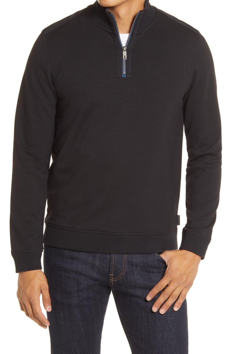 TED BAKER LONDON Caravan Slim Fit Quarter Zip Top, Main, color, BLACK