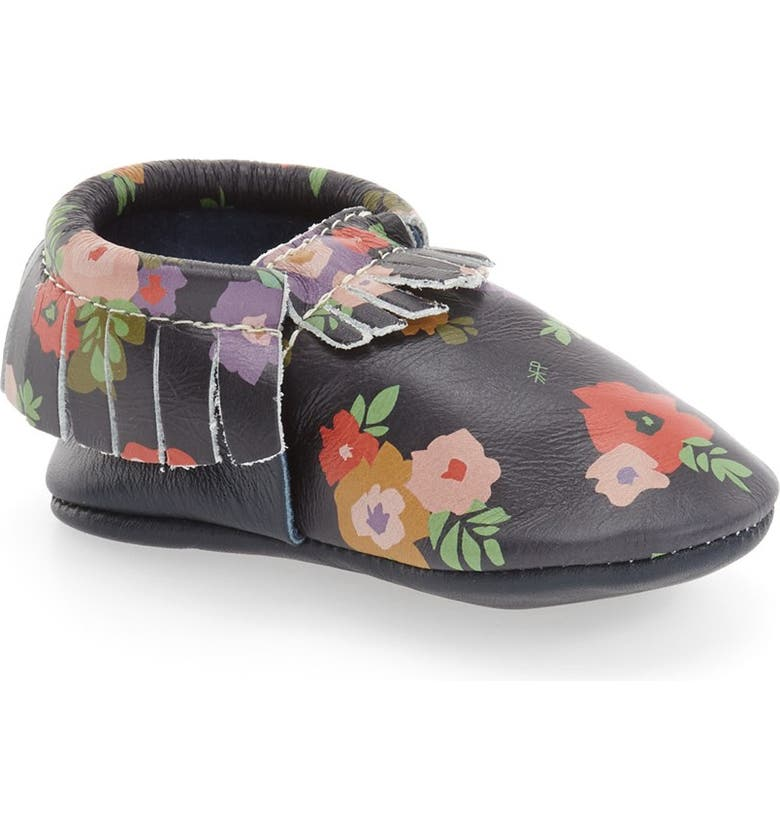 FRESHLY PICKED Flower Print Moccasin, Main, color, FLOWER PRINT ON NAVY LEATHER