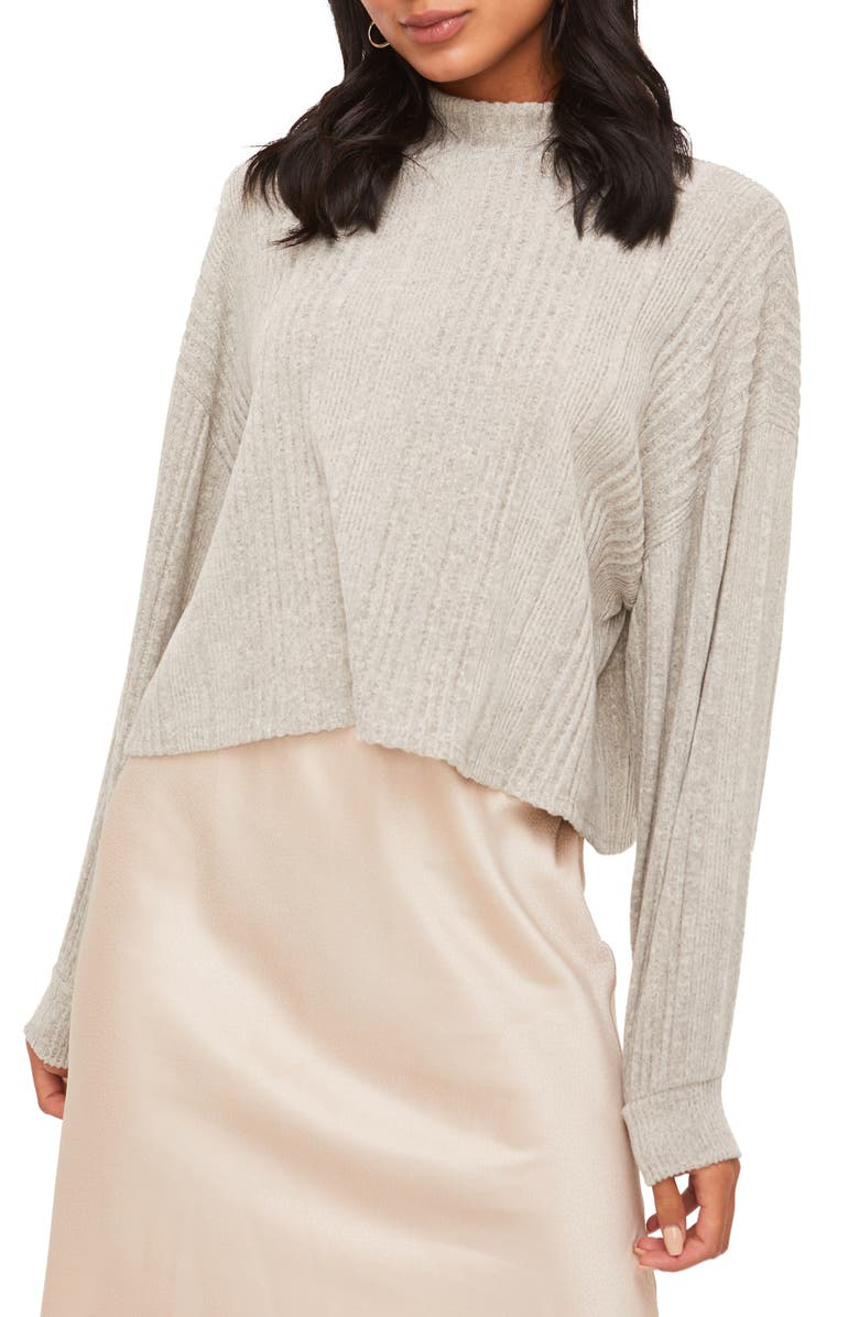 ALL IN FAVOR Mock Neck Ribbed Sweater, Main, color, 020