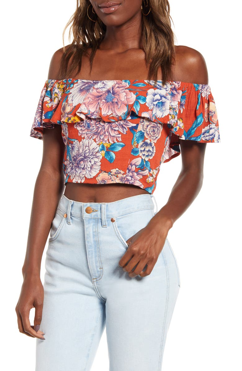 BAND OF GYPSIES Camellia Off the Shoulder Crop Top, Main, color, 950