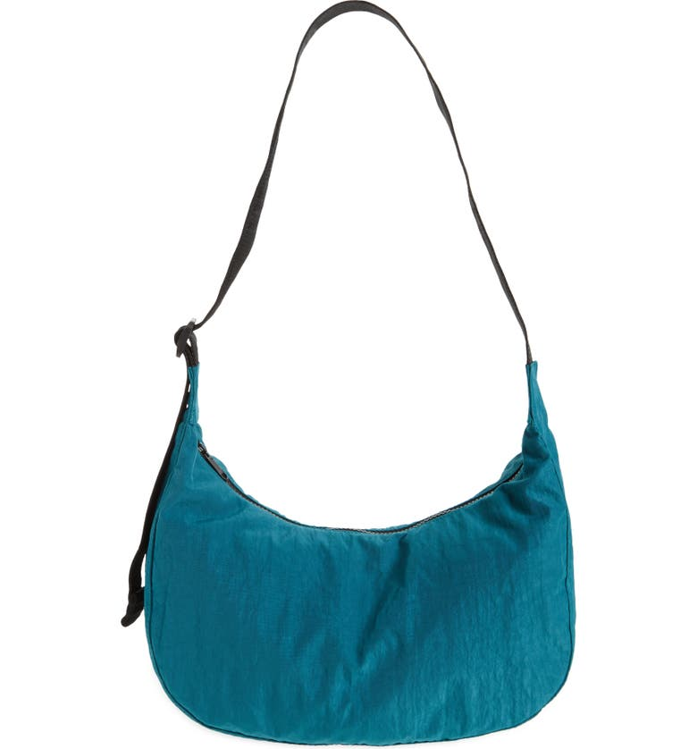 BAGGU Medium Crescent Nylon Canvas Shoulder Bag, Main, color, MALACHITE