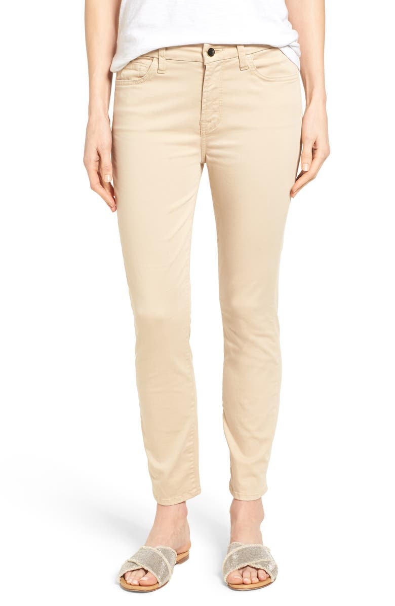 JEN7 by 7 For All Mankind Colored Stretch Ankle Skinny Jeans, Main, color, LIGHT ALMOND