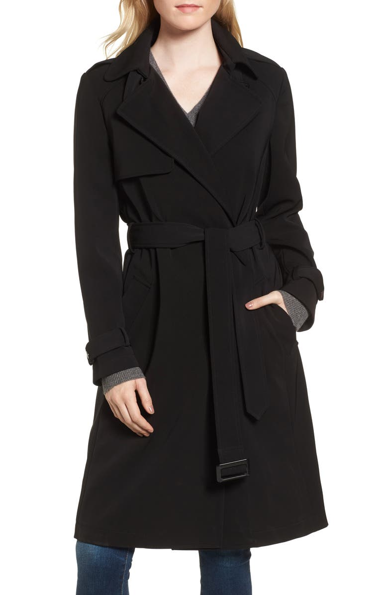 DONNA KARAN NEW YORK DKNY French Twill Water Resistant Trench Coat, Main, color, Black