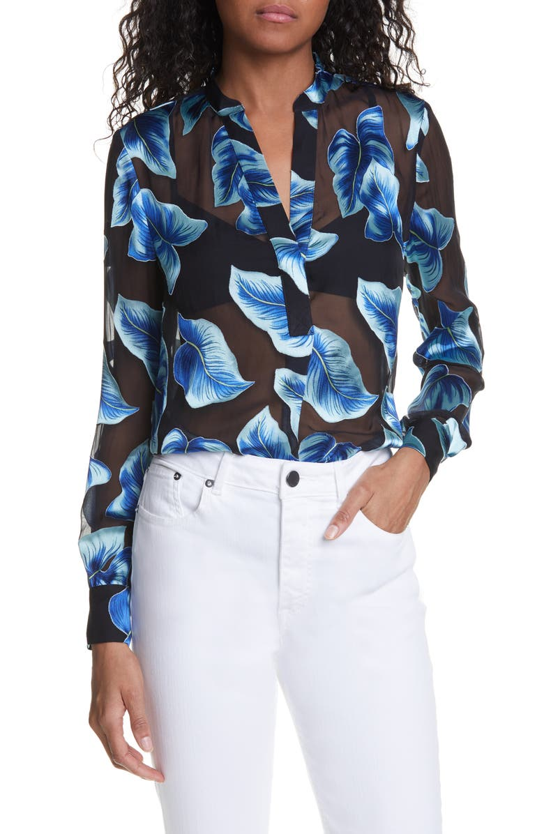 ALICE + OLIVIA Amos Tropical Leaf Print Split Neck Blouse, Main, color, 464