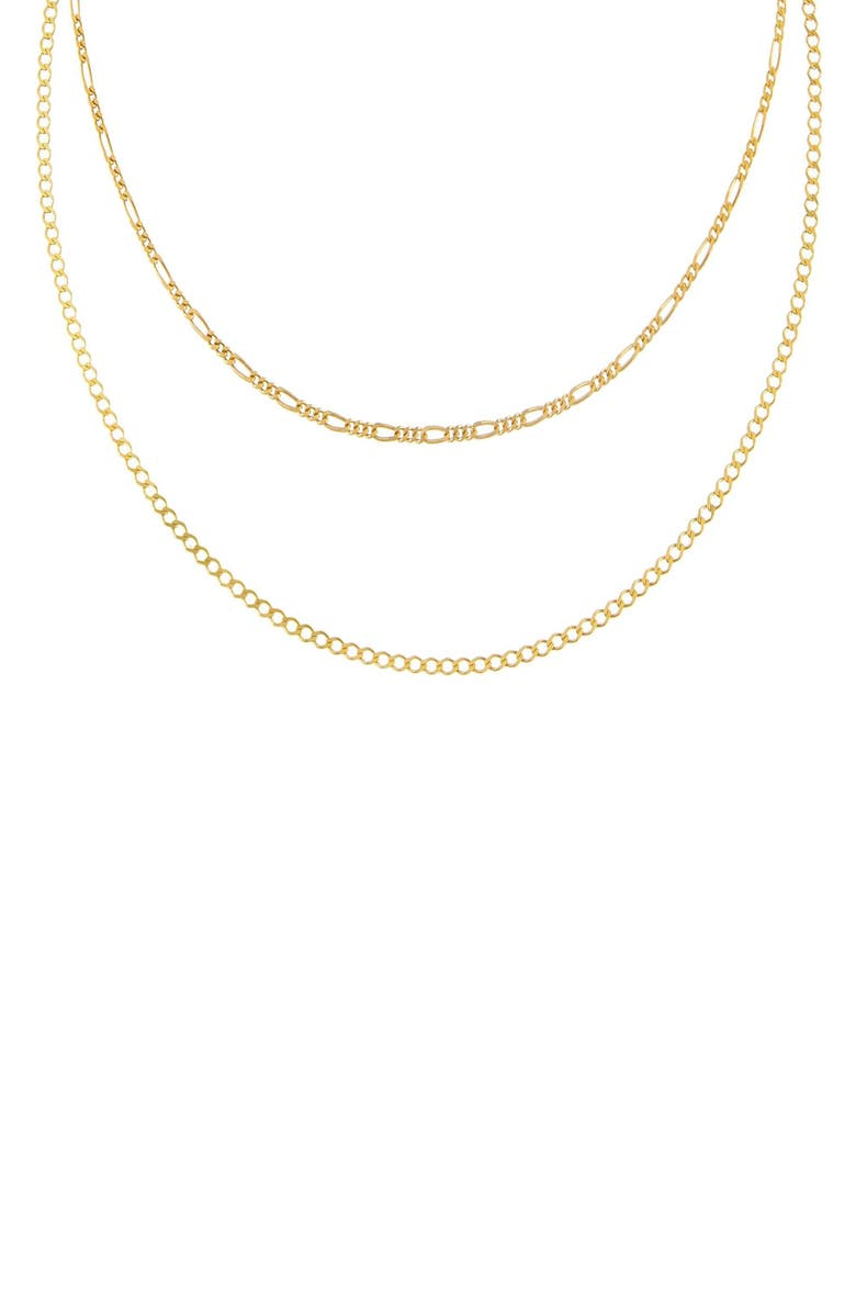 ADINA'S JEWELS Figaro Layered Chain Necklace, Main, color, GOLD