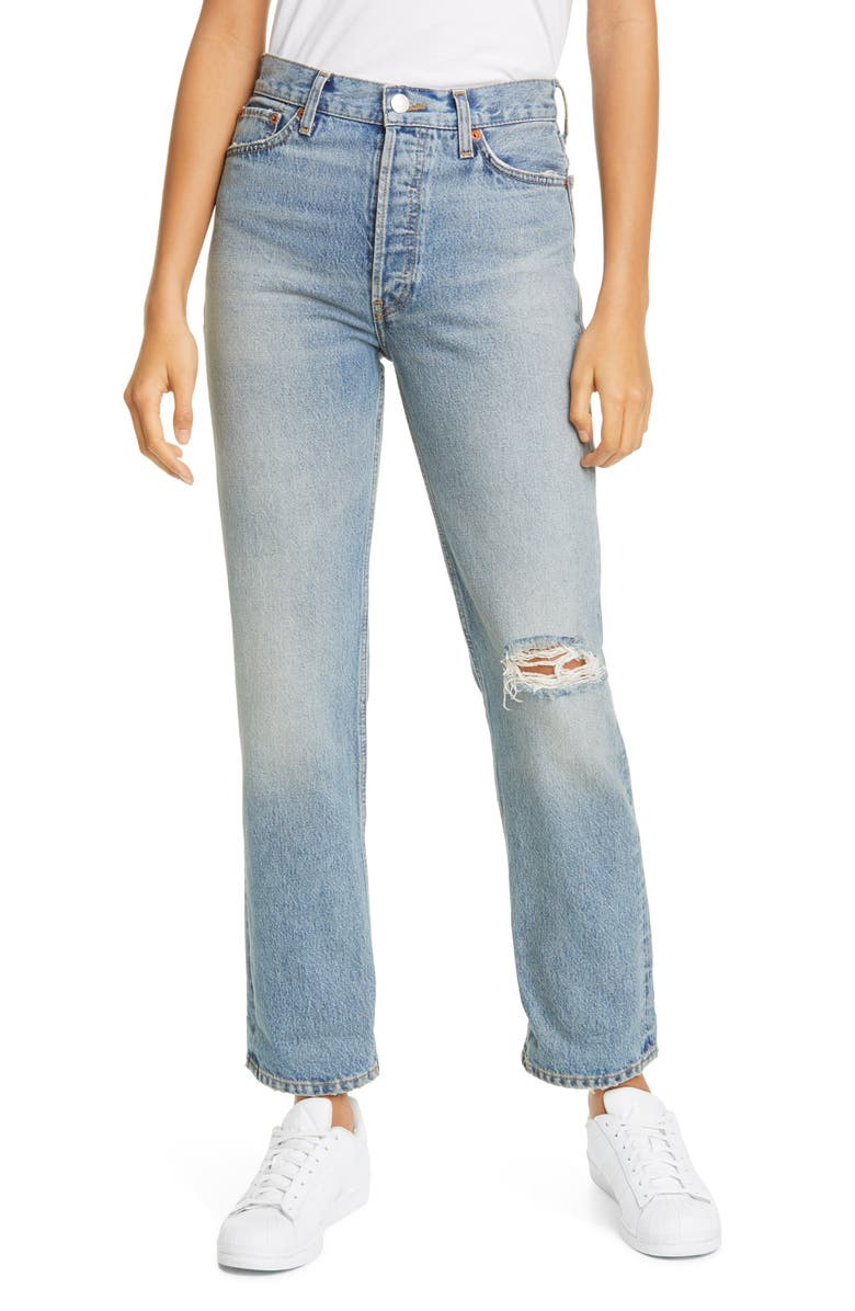 RE/DONE '90s Ripped Loose Straight Leg Jeans, Main, color, 450