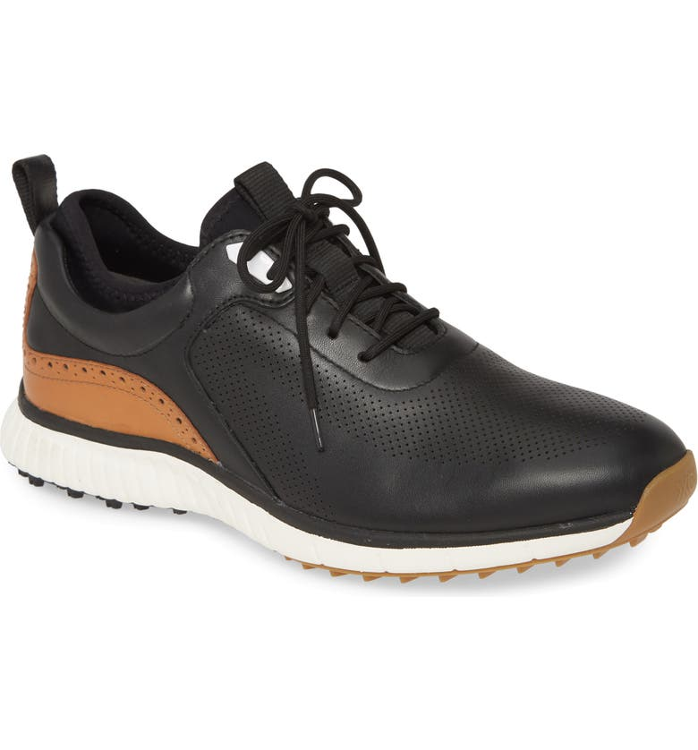 JOHNSTON & MURPHY H-1 Luxe Waterproof Golf Shoe, Main, color, BLACK WATERPROOF