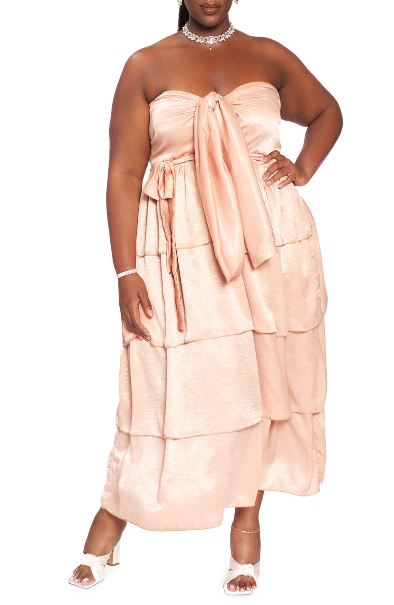 ZELIE FOR SHE Wild Child Strapless Tiered Dress, Main, color, TAN