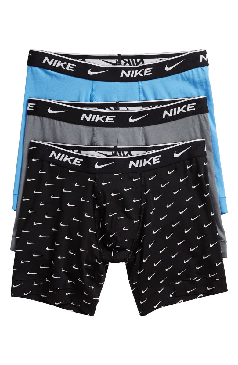 NIKE Dri-FIT Everyday Assorted 3-Pack Performance Boxer Briefs, Main, color, SWOOSH/ GREY/ BLUE