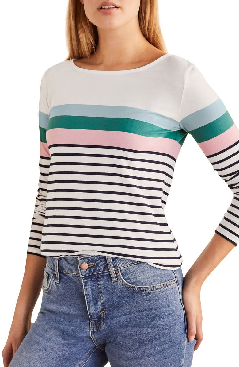 BODEN Long Sleeve Breton Top, Main, color, ICE BLUE/ SOFT PEONY