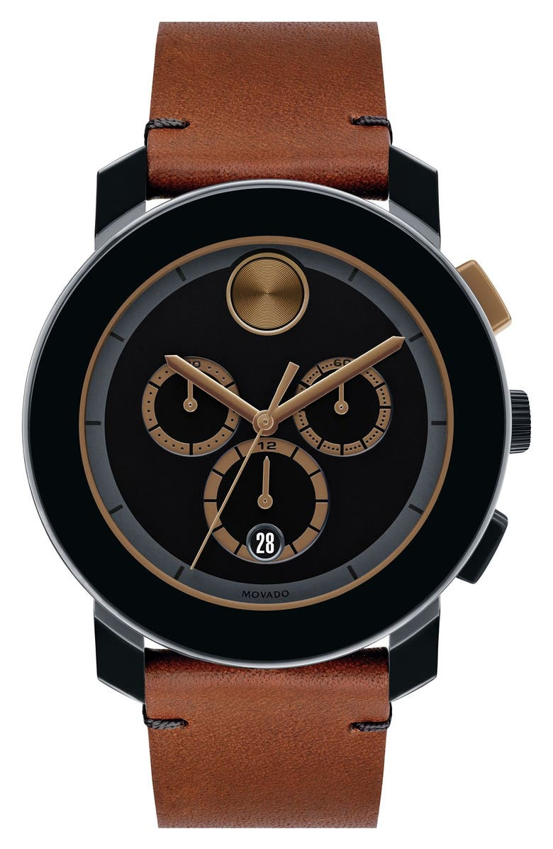 MOVADO 'Bold' Chronograph Leather Strap Watch, 44mm, Main, color, 200
