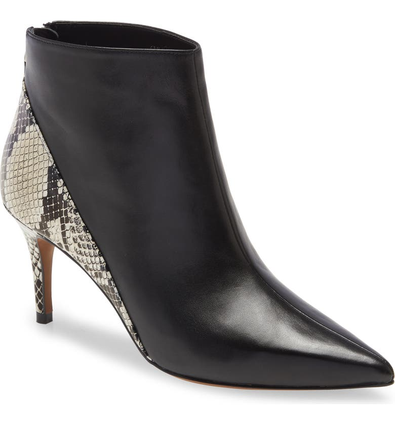 LINEA PAOLO Nice Pointed Toe Bootie, Main, color, CREAM/ BLACK LEATHER