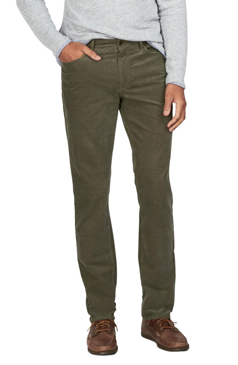 FAHERTY BRAND Stretch Corduroy 5 Pocket Pants, Main, color, WASHED OLIVE