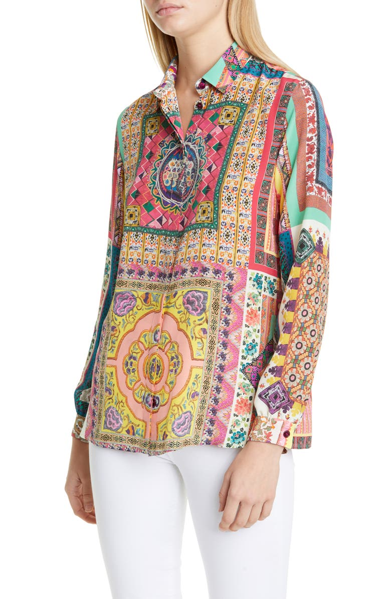 ETRO Floral Silk Shirt, Main, color, 950